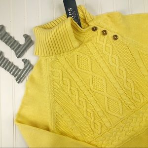 Chaps Canary Cotton Cable Knit Turtleneck Sweater